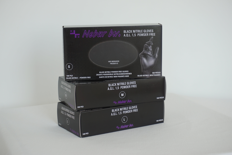 Nebur Nitrile Handschoenen Maat M - Ongepoederd 100 stuks - Zwart
